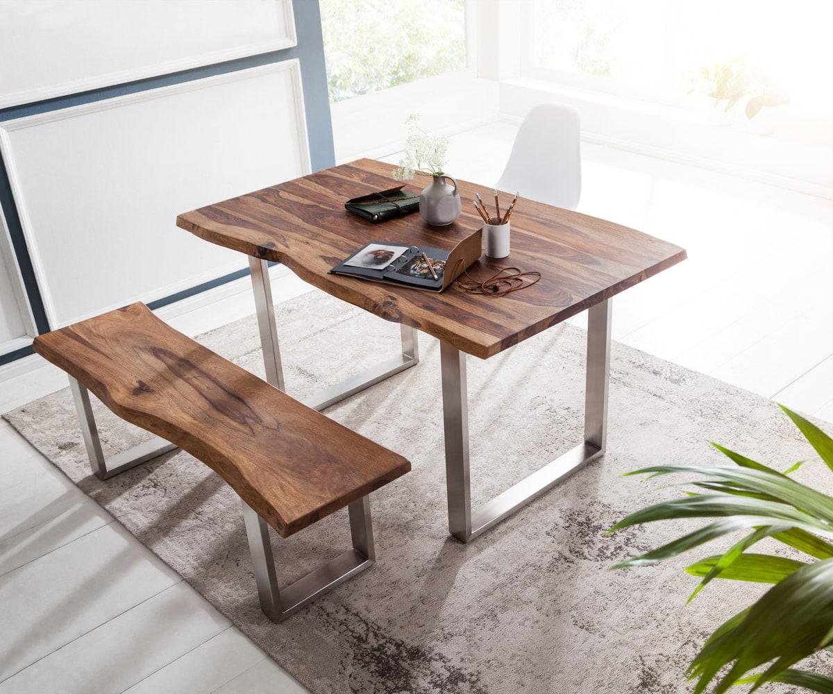 delife baumtisch live edge 140x90 sheesham braun gestell edelstahl esstische baumkantenm bel. Black Bedroom Furniture Sets. Home Design Ideas