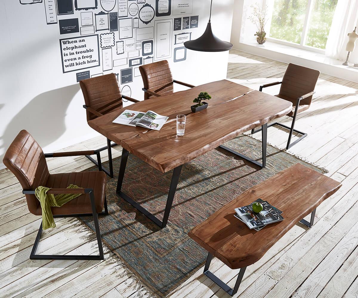 delife baumtisch live edge 180x100 akazie braun platte 5 5. Black Bedroom Furniture Sets. Home Design Ideas