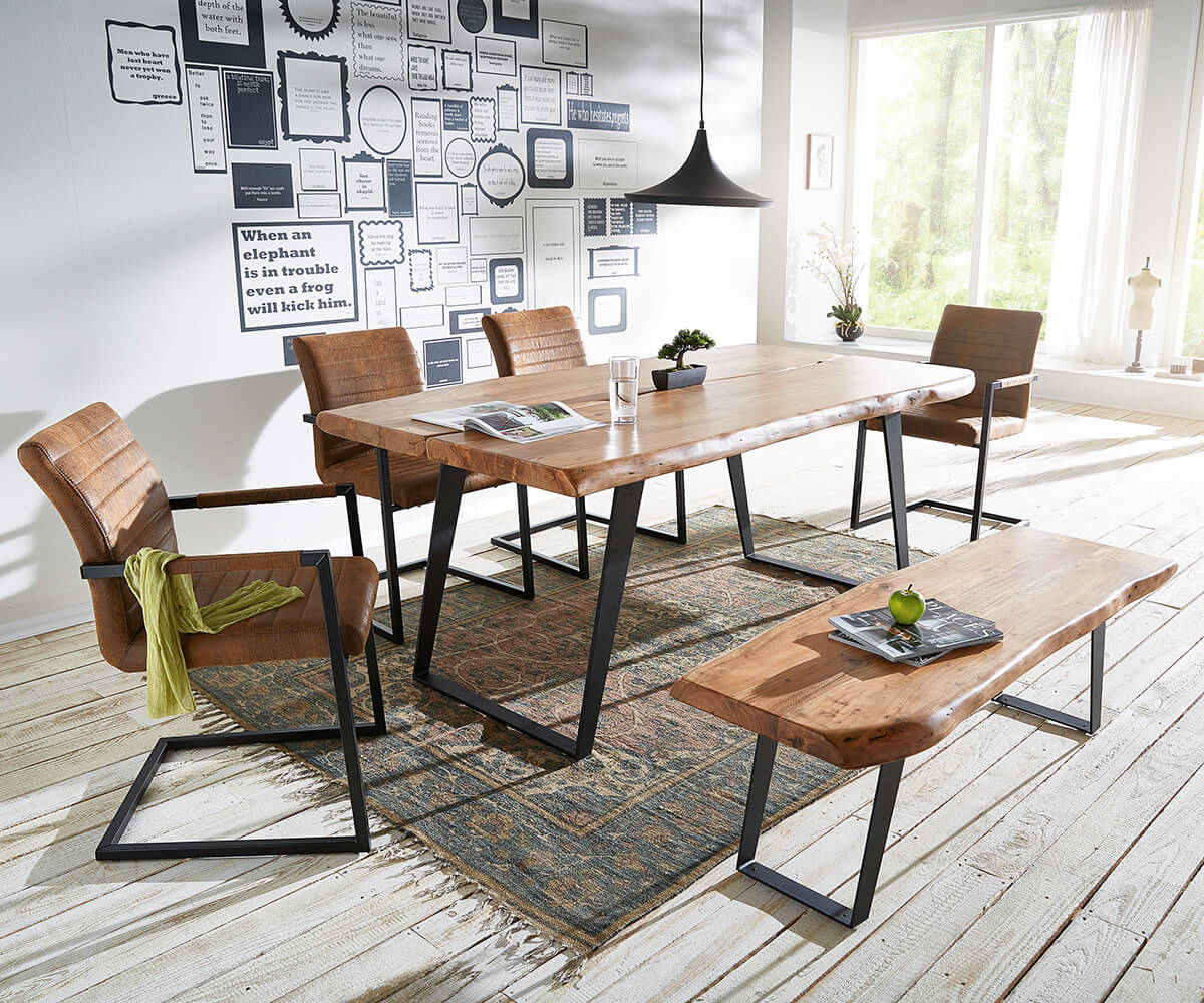 delife baumtisch live edge 180x100 akazie natur platte 5 5. Black Bedroom Furniture Sets. Home Design Ideas