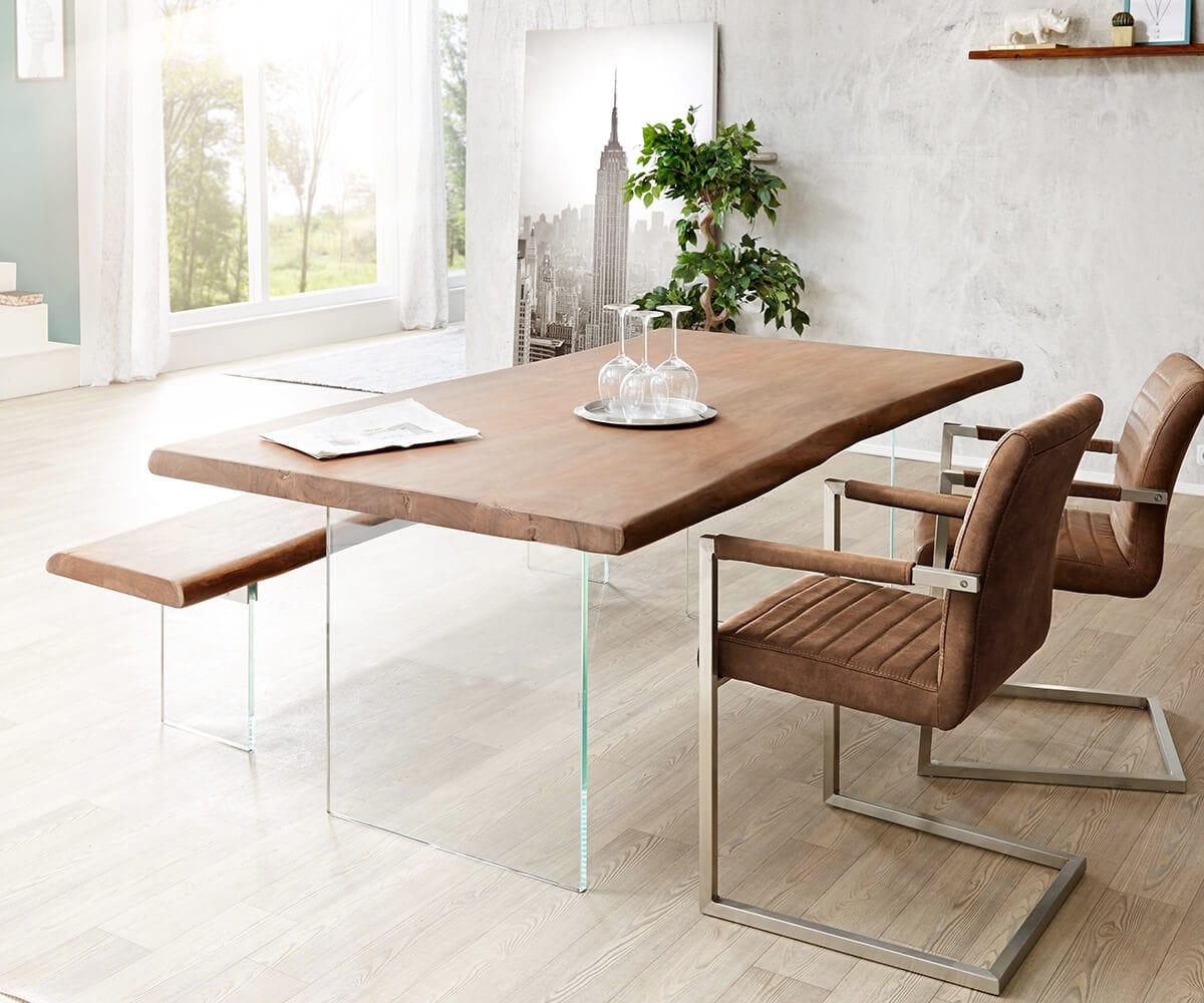 delife baumtisch live edge 200x100 akazie braun platte 5 5. Black Bedroom Furniture Sets. Home Design Ideas