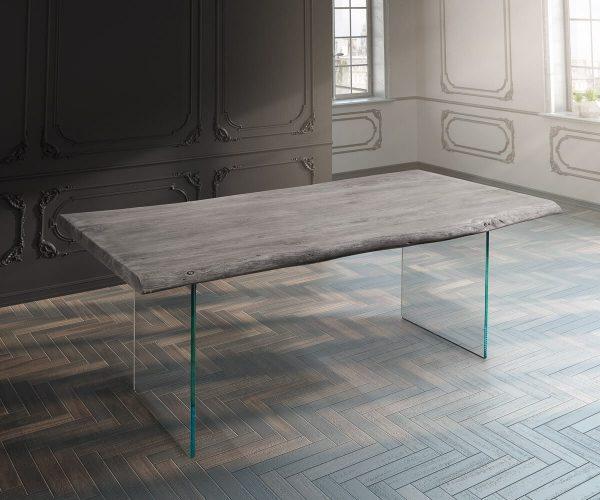 DELIFE Baumtisch Live-Edge 200x100 Akazie Platin Platte 5,5 cm Glasbeine, Esstische, Baumkantenmöbel, Massivholzmöbel, Massivholz, Baumkante, Wolf Live Edge