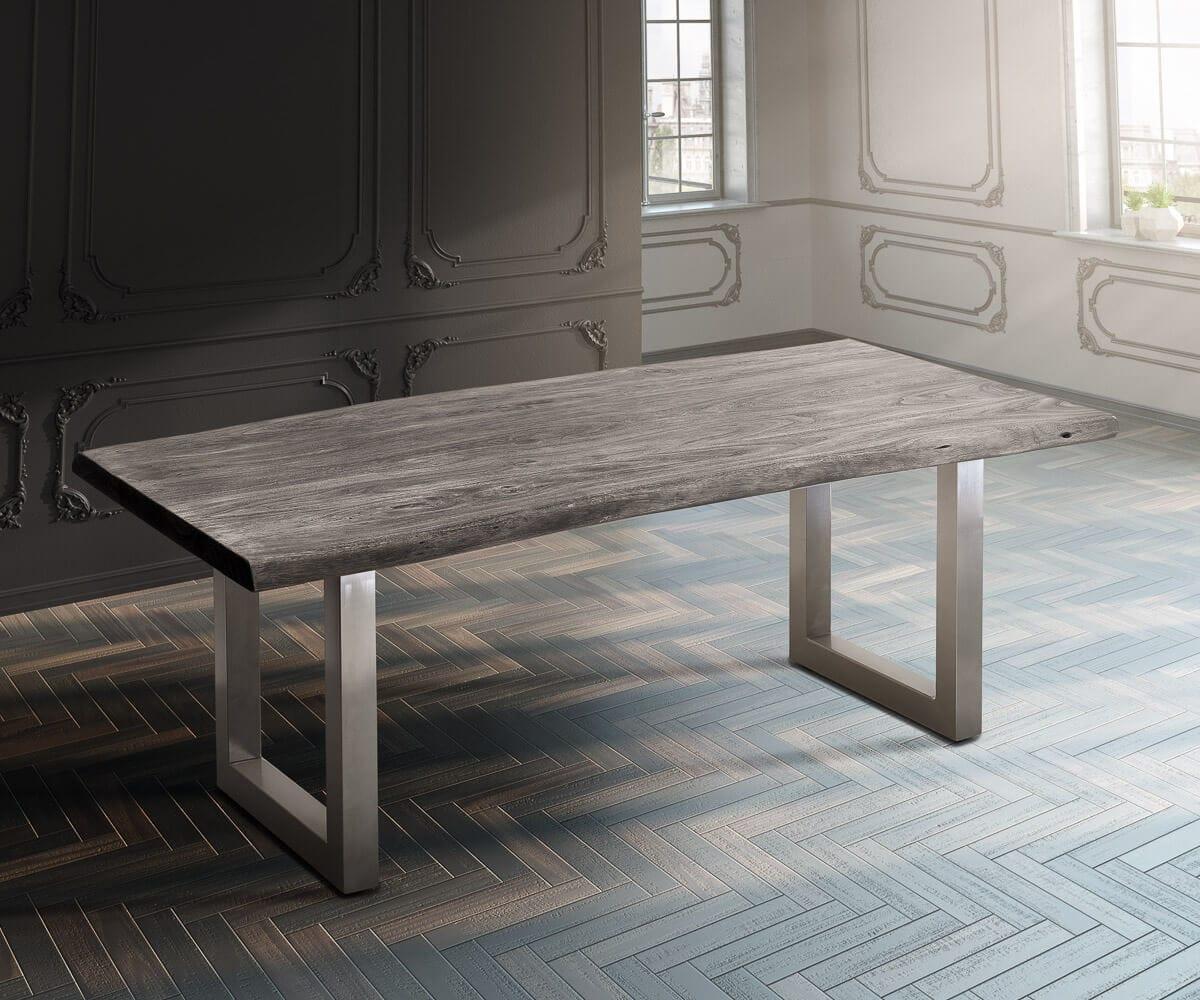 delife baumtisch live edge 200x100 akazie platin platte 5 5cm gestell breit esstische. Black Bedroom Furniture Sets. Home Design Ideas