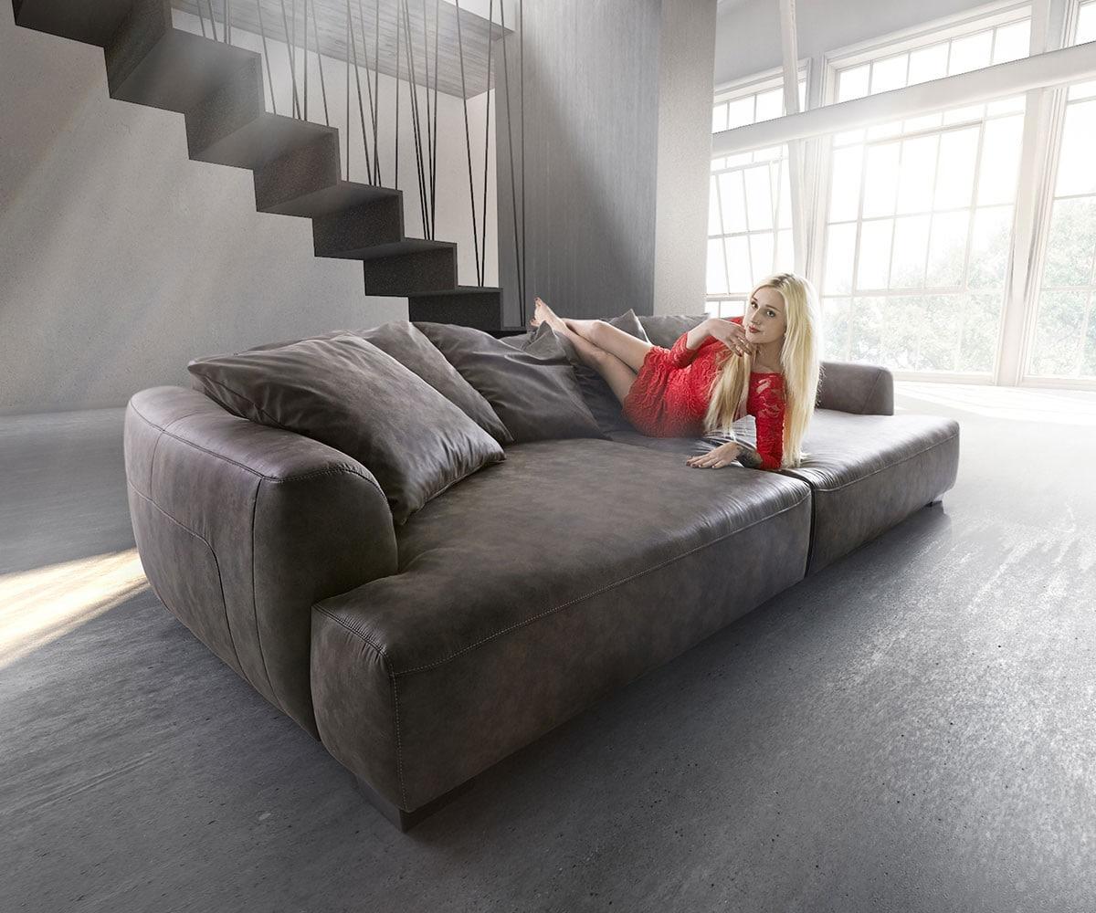 Delife Big Sofa Kingsize 280x140 Cm Anthrazit Vintage Big Sofas