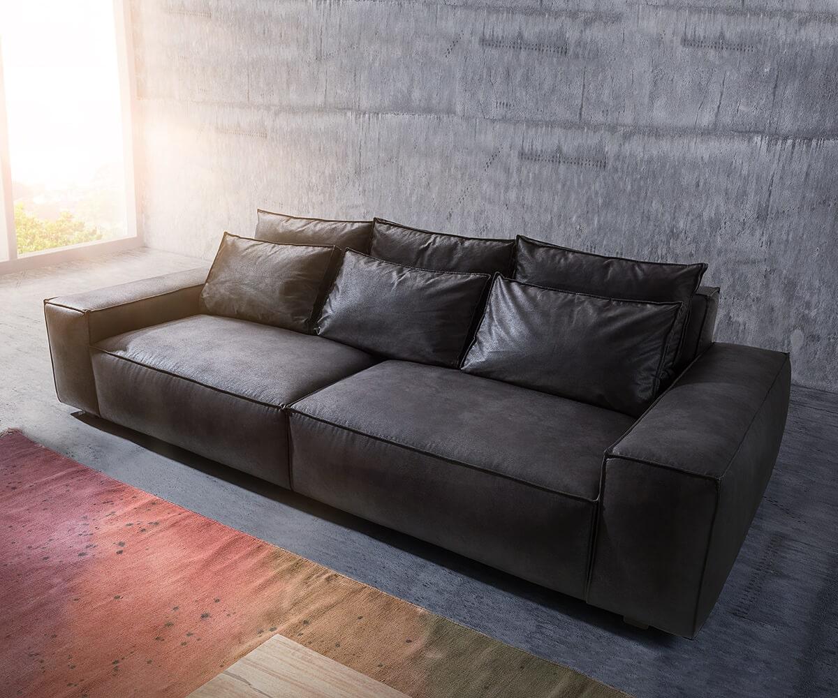 delife big sofa sirpio 270x125 cm anthrazit vintage kedernaht big sofas 11072 online kaufen bei. Black Bedroom Furniture Sets. Home Design Ideas