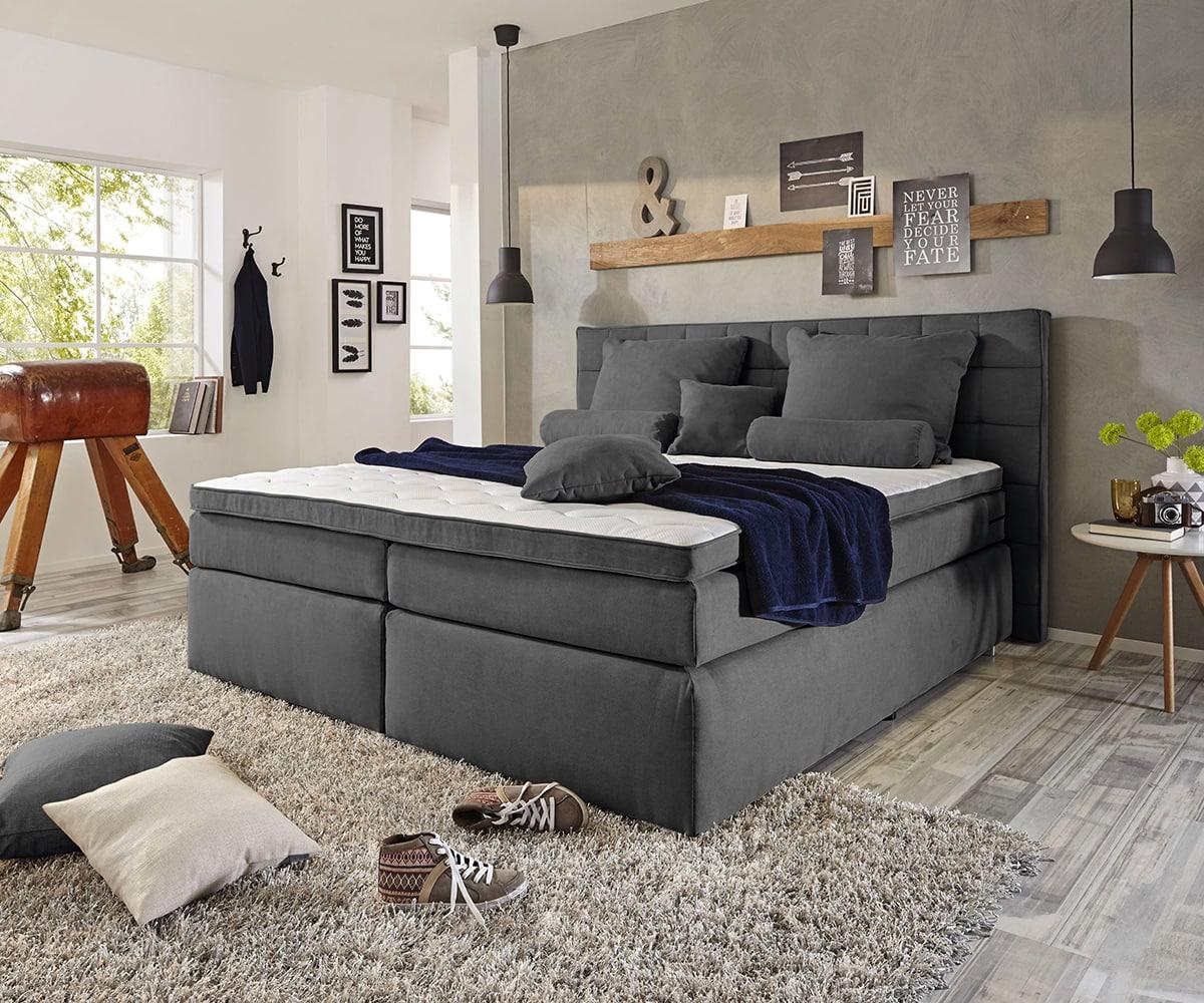 delife boxspringbett isobel 180x200 anthrazit matratze und topper boxspringbetten 11531 online. Black Bedroom Furniture Sets. Home Design Ideas