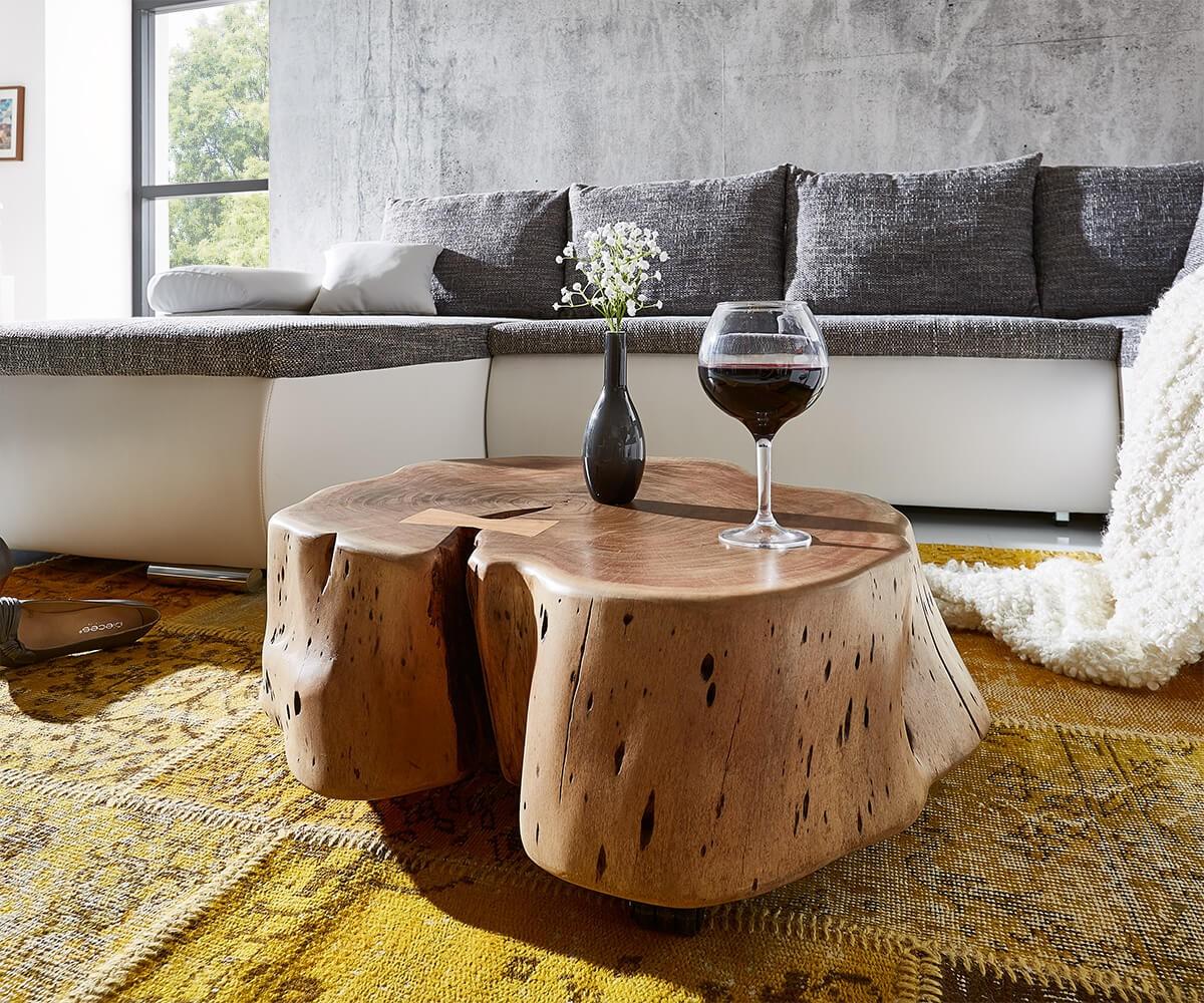 delife couchtisch live edge xl akazie natur mit rollen baumstamm couchtische baumkantenm bel. Black Bedroom Furniture Sets. Home Design Ideas