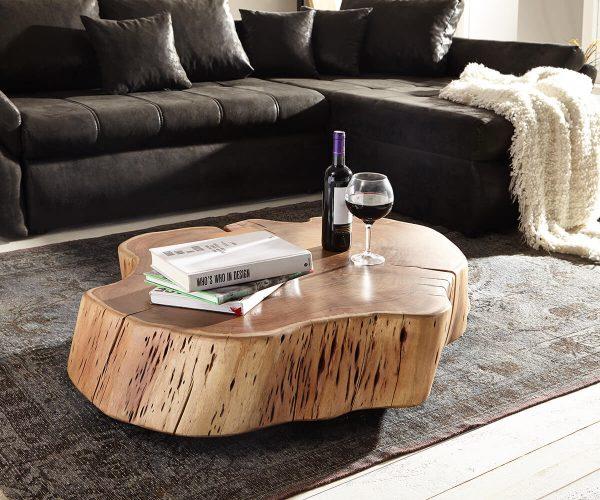 delife couchtisch live edge xxl akazie natur mit rollen baumstamm couchtische baumkantenm bel. Black Bedroom Furniture Sets. Home Design Ideas