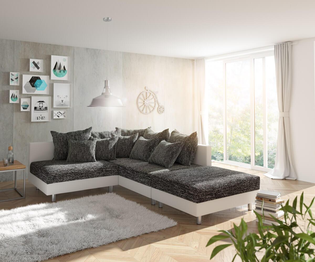delife ecksofa clovis weiss schwarz mit hocker ottomane. Black Bedroom Furniture Sets. Home Design Ideas