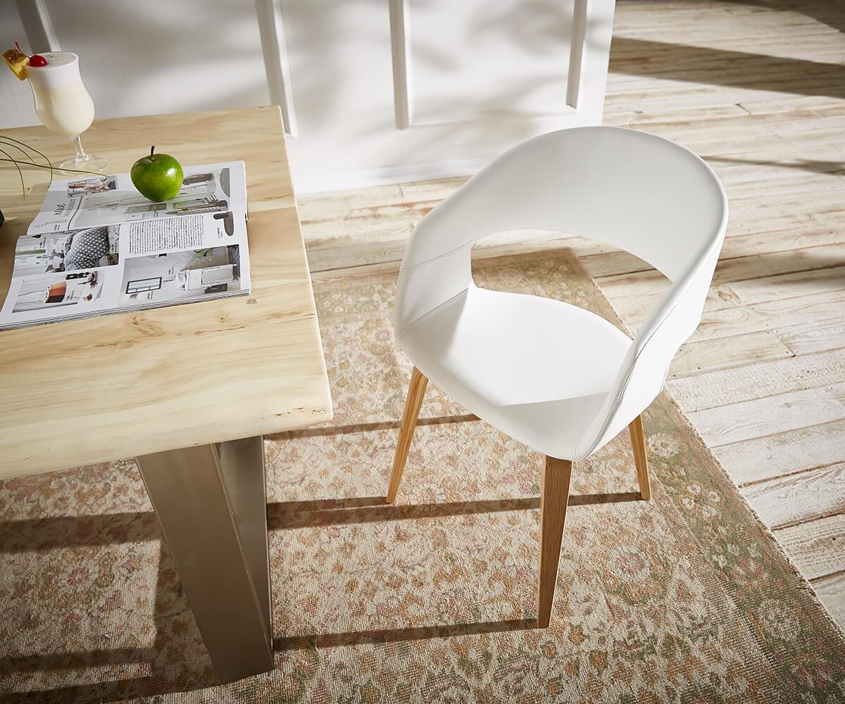 delife esszimmerstuhl naile weiss beine natur mit armlehne. Black Bedroom Furniture Sets. Home Design Ideas