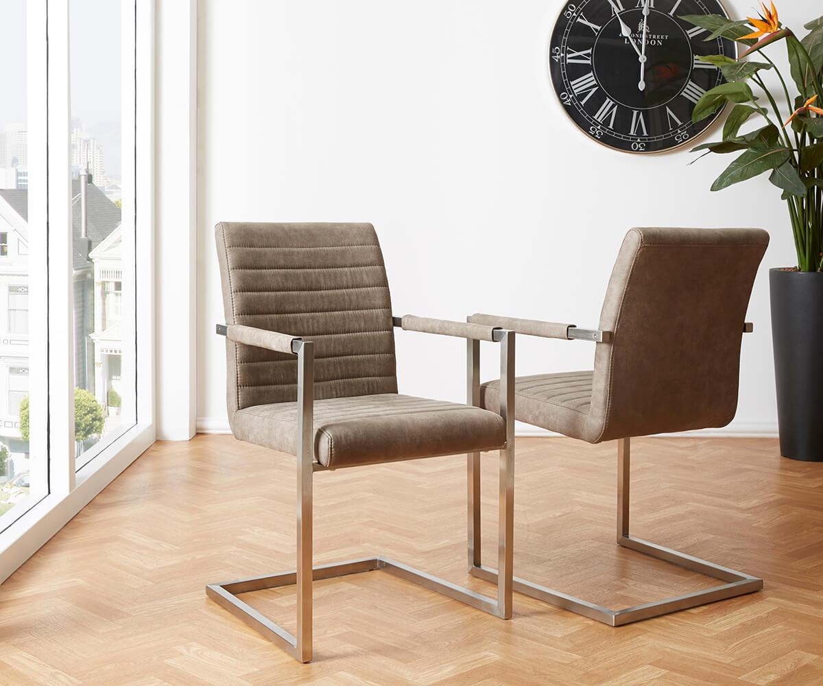 delife freischwinger earnest taupe vintage gestell. Black Bedroom Furniture Sets. Home Design Ideas