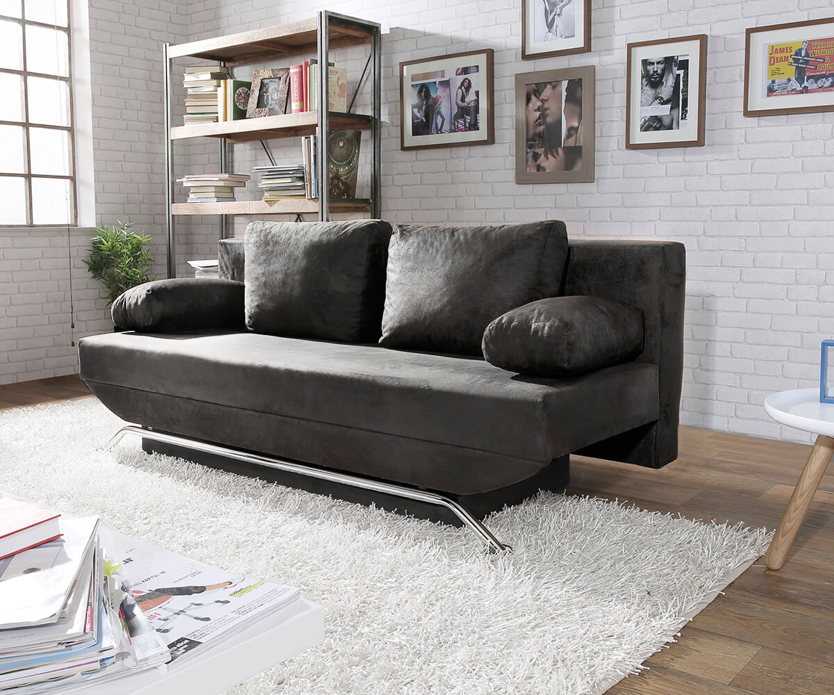 delife schlafsofa cady 200x90 cm anthrazit antik optik bettkasten schlafsofas 12138 online. Black Bedroom Furniture Sets. Home Design Ideas