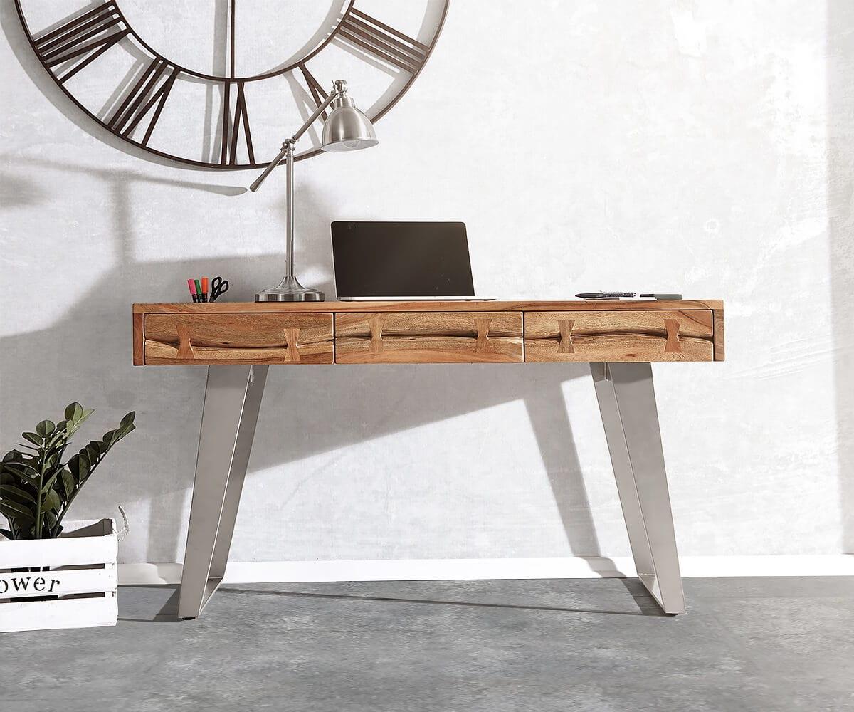 delife schreibtisch live edge 137 cm akazie natur baumkante schreibtische baumkantenm bel. Black Bedroom Furniture Sets. Home Design Ideas