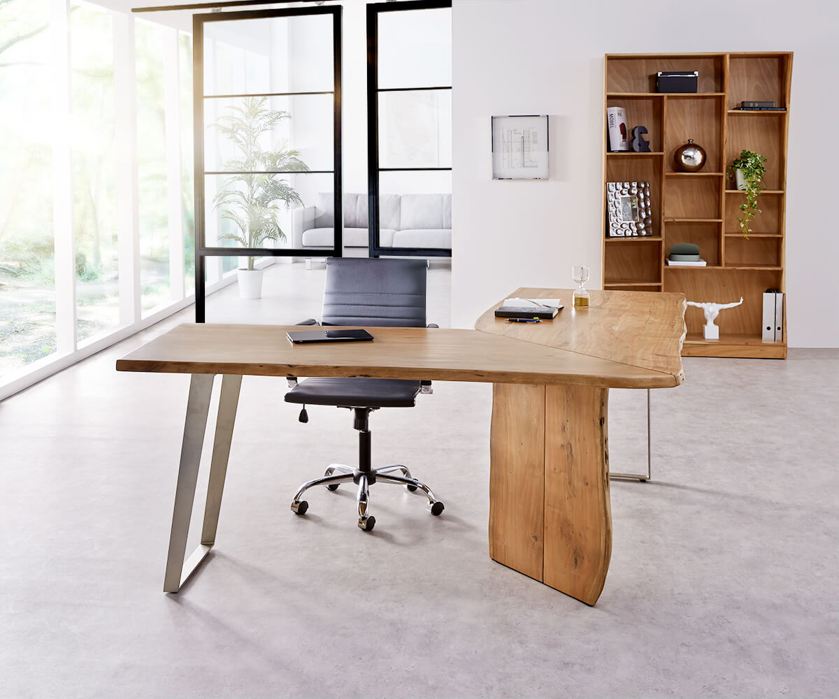 delife schreibtisch live edge 180x180 akazie natur gestell silber baumkante schreibtische. Black Bedroom Furniture Sets. Home Design Ideas