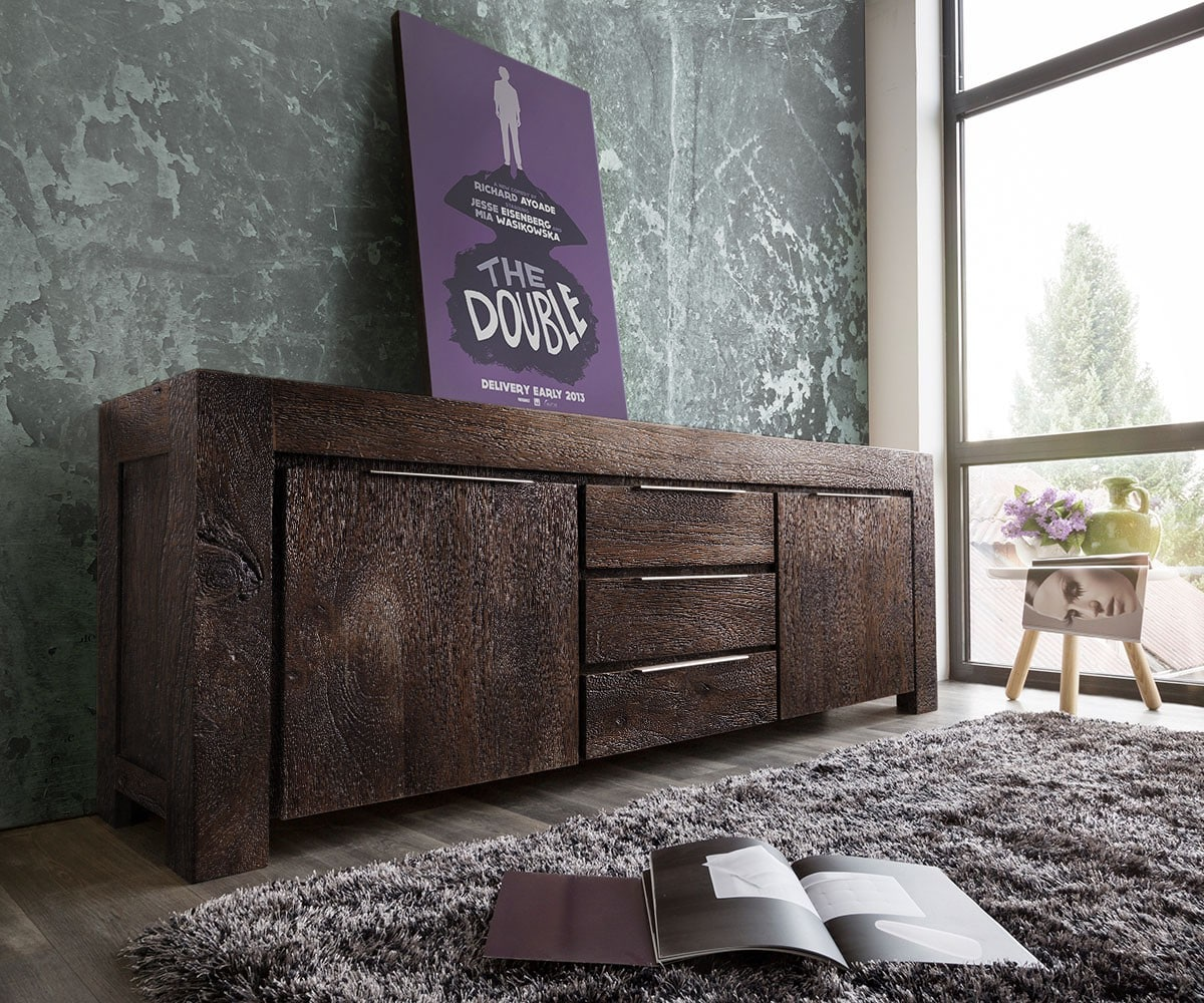 delife sideboard blokk 220 cm akazie tabak 2 t ren 3. Black Bedroom Furniture Sets. Home Design Ideas