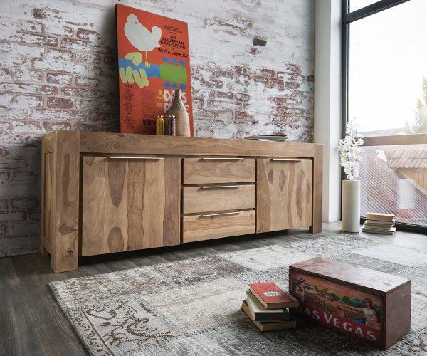 DELIFE Sideboard Blokk 220 cm Sheesham Natur 2 Türen Massiv, Sideboards