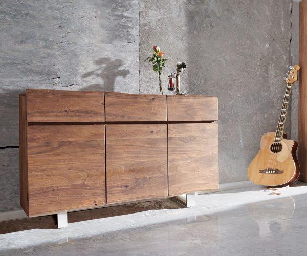 DELIFE Sideboard Live-Edge 147 cm Akazie Braun 3 Türen 3 Schübe, Sideboards, Baumkantenmöbel, Massivholzmöbel, Massivholz, Baumkante, Wolf Live Edge
