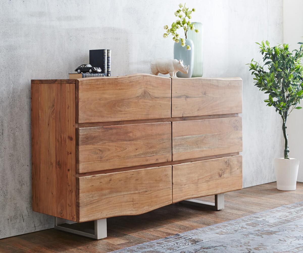 delife sideboard live edge 148 cm akazie natur 6 sch be massivholz sideboards baumkantenm bel. Black Bedroom Furniture Sets. Home Design Ideas