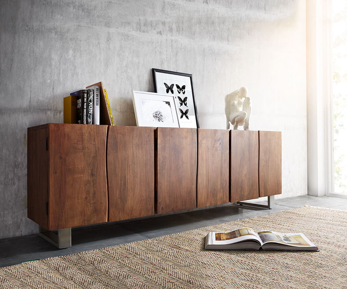 delife sideboard live edge 220 cm akazie braun massiv 6 t ren sideboards baumkantenm bel. Black Bedroom Furniture Sets. Home Design Ideas