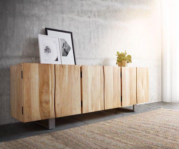 DELIFE Sideboard Live-Edge 220 cm Akazie Gebleicht massiv 6 Türen, Sideboards, Baumkantenmöbel, Massivholzmöbel, Massivholz, Baumkante, Wolf Live Edge