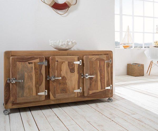 DELIFE Sideboard Zakarya 145 cm Sheesham Natur massiv 3 Türen, Sideboards