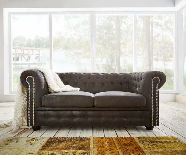 DELIFE Sofa Chesterfield 160x92 cm Anthrazit Antik Optik, Chesterfields