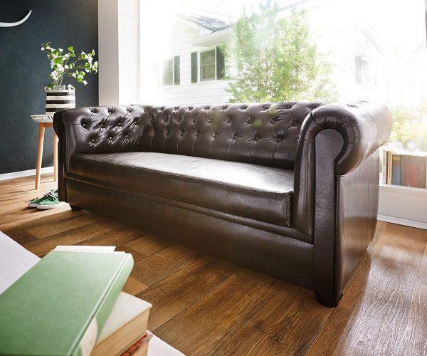 DELIFE Sofa Chesterfield 200x90 cm Braun Abgesteppt 3-Sitzer, Chesterfields