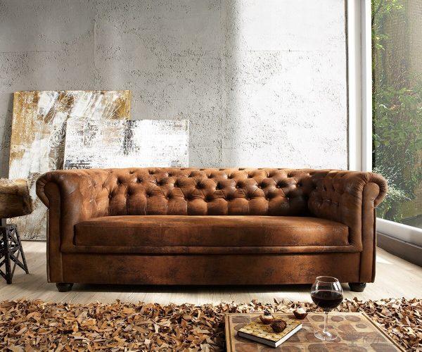 DELIFE Sofa Chesterfield 200x92 Braun Antik Optik 3-Sitzer Couch, Chesterfields