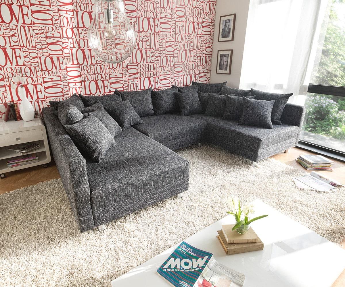 delife wohnlandschaft clovis schwarz strukturstoff mit hocker modulsofa design wohnlandschaften. Black Bedroom Furniture Sets. Home Design Ideas
