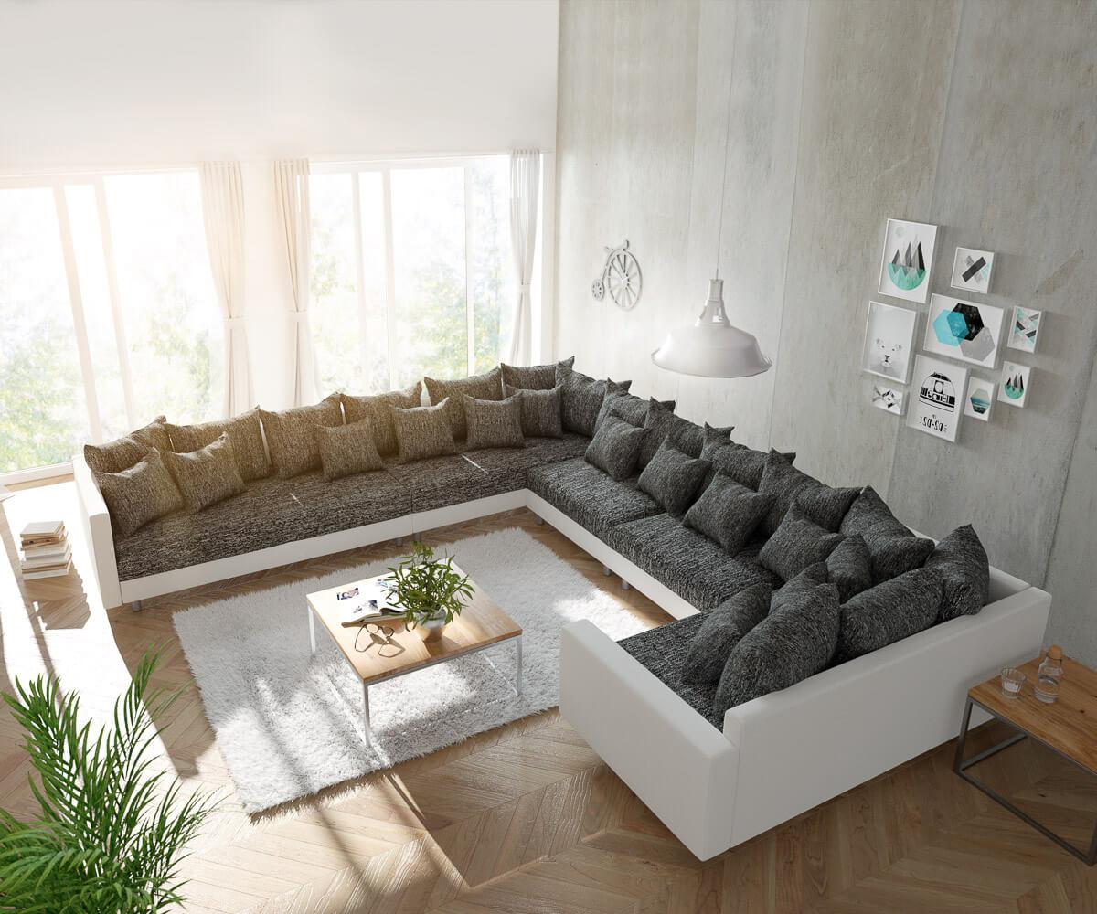 delife wohnlandschaft clovis xxl weiss schwarz mit armlehne ottomane links design. Black Bedroom Furniture Sets. Home Design Ideas