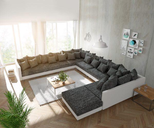 delife wohnlandschaft clovis xxl weiss schwarz mit hocker ottomane links design. Black Bedroom Furniture Sets. Home Design Ideas