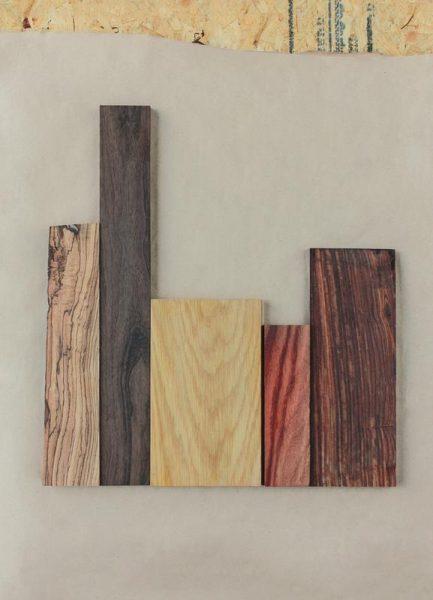 Dark Walnut White Oak Cocobolo Wood Leinwandbild