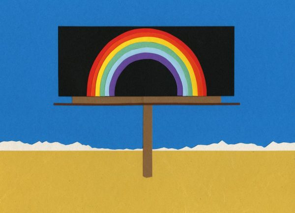 Desert Billboard with Rainbow Leinwandbild