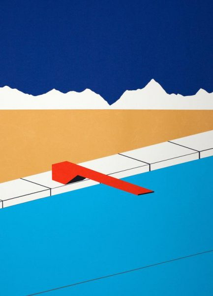 Desert Pool with Red Diving Board Leinwandbild