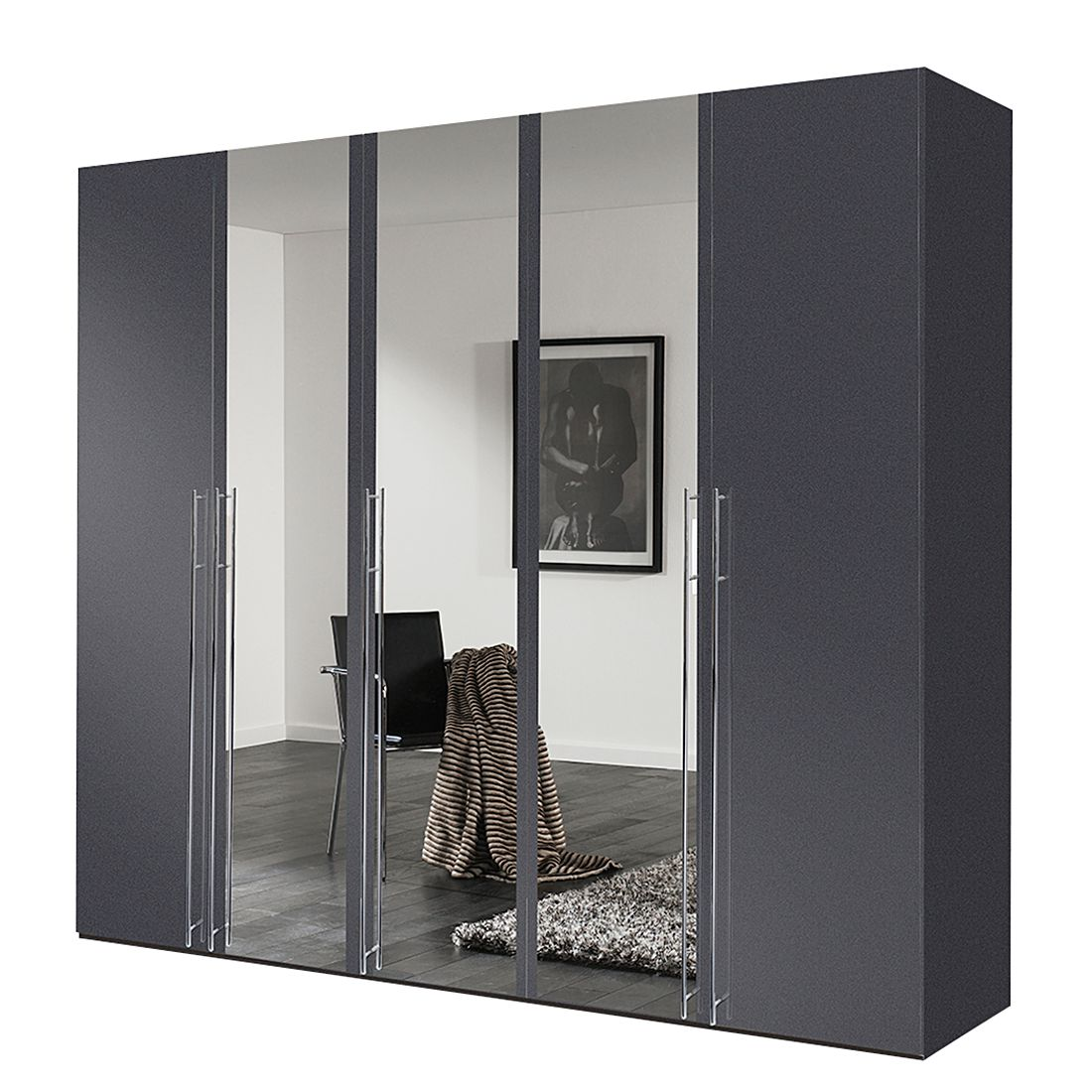 dreht renschrank brooklyn vii graphit spiegel 250 cm 5 t rig 216 cm express m bel. Black Bedroom Furniture Sets. Home Design Ideas