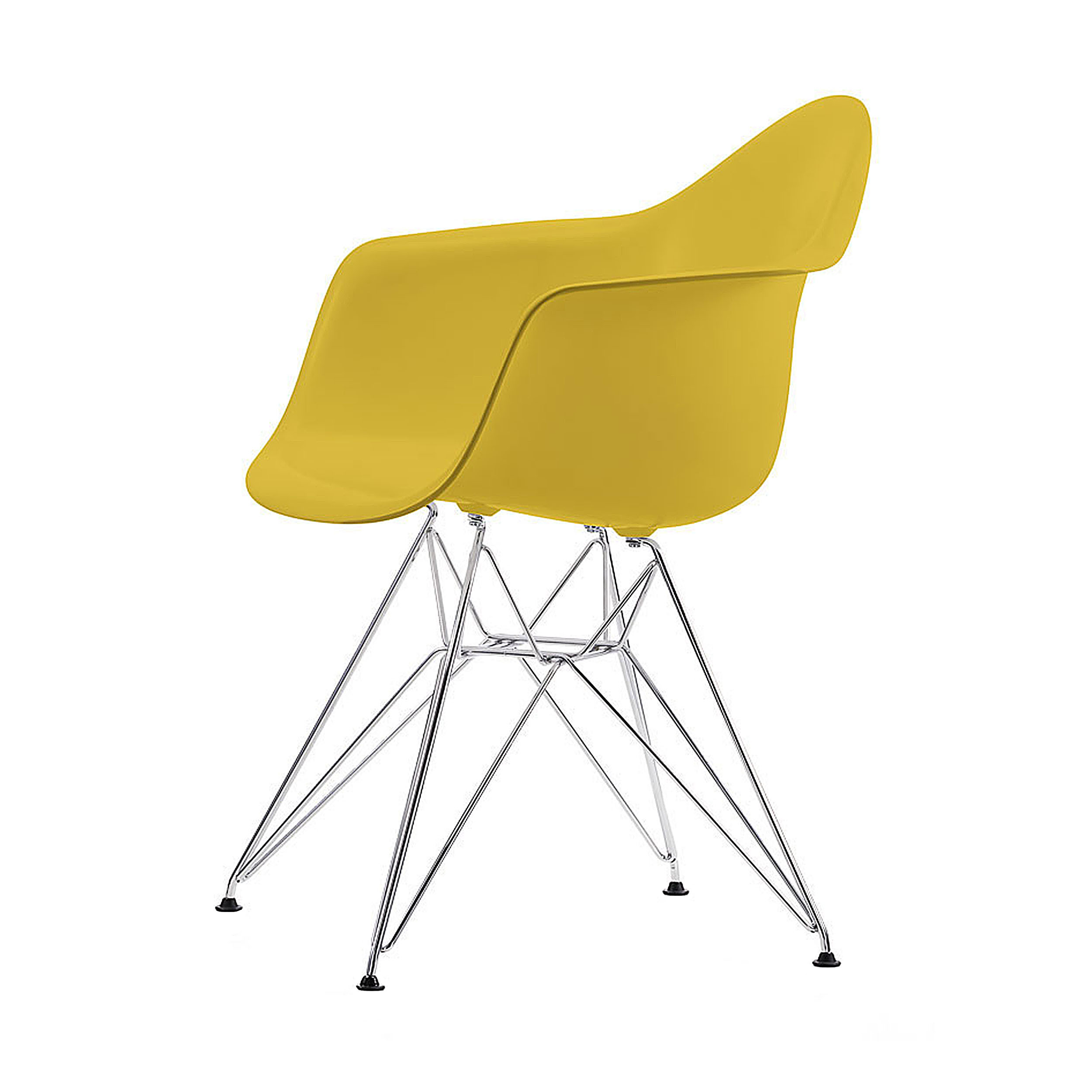 eames plastic armchair stuhl dar mit filzgleitern senf chrom neue ma e online. Black Bedroom Furniture Sets. Home Design Ideas