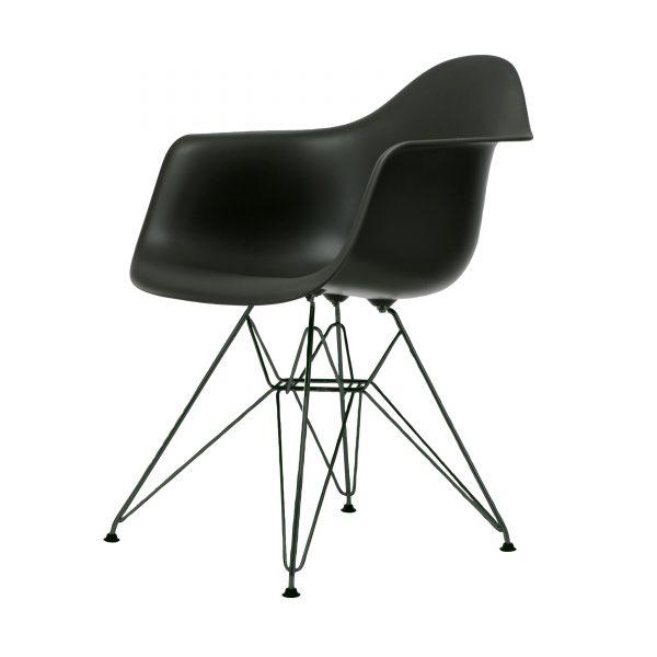 Eames Plastic Armchair Stuhl DAR mit Kunststoffgleitern basic dark-schwarz