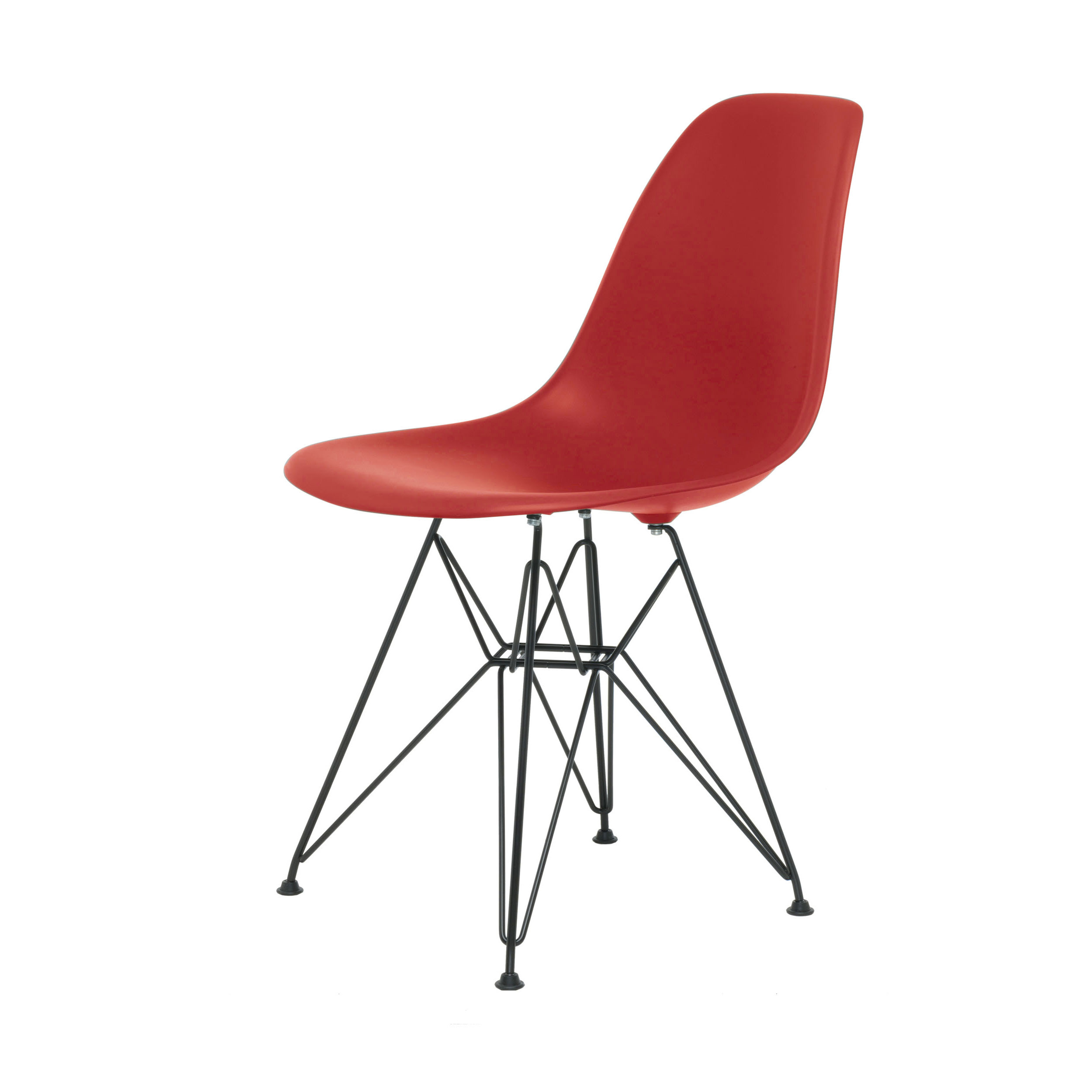 eames plastic side chair stuhl dsr mit filzgleitern oxidrot schwarz neue ma e. Black Bedroom Furniture Sets. Home Design Ideas