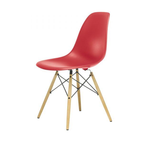 Eames Plastic Side Chair Stuhl DSW mit Filzgleitern oxidrot-Ahorn neue Maße