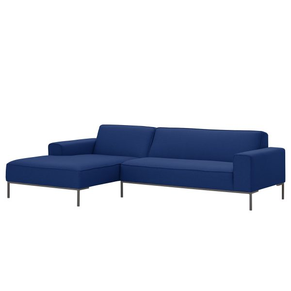 Ecksofa Ampio I Webstoff - Longchair/Ottomane davorstehend links - Grau - Stoff Floreana Dunkelblau II