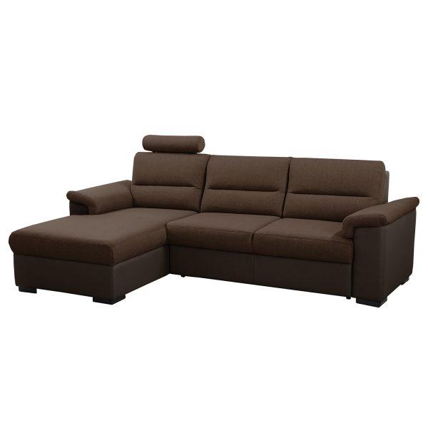 Ecksofa Callaway I (mit Schlaffunktion) - Strukturstoff/Kunstleder - Longchair davorstehend links - Braun / Dunkelbraun