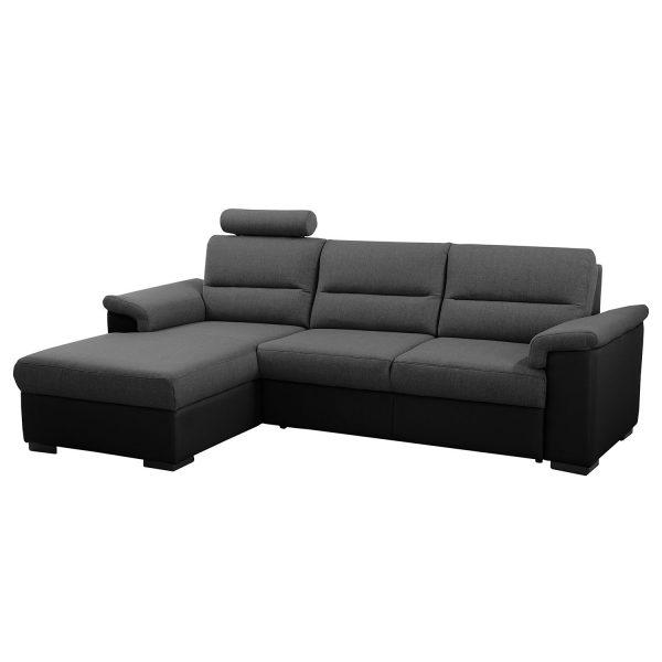 Ecksofa Callaway I (mit Schlaffunktion) - Strukturstoff/Kunstleder - Longchair davorstehend links - Dunkelgrau / Schwarz