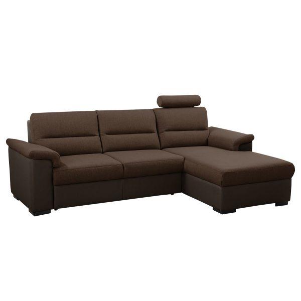 Ecksofa Callaway I (mit Schlaffunktion) - Strukturstoff/Kunstleder - Longchair davorstehend rechts - Braun / Dunkelbraun