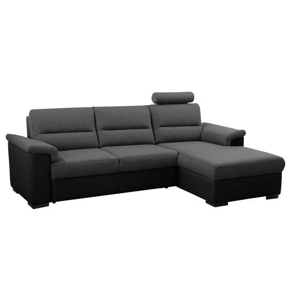 Ecksofa Callaway I (mit Schlaffunktion) - Strukturstoff/Kunstleder - Longchair davorstehend rechts - Dunkelgrau / Schwarz