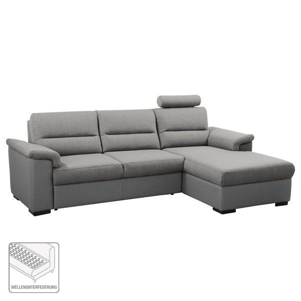 Ecksofa Callaway I (mit Schlaffunktion) - Strukturstoff/Kunstleder - Longchair davorstehend rechts - Grau