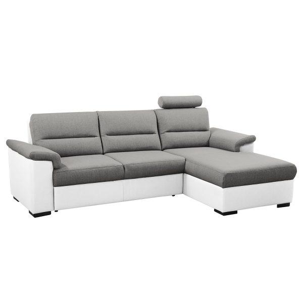 Ecksofa Callaway I (mit Schlaffunktion) - Strukturstoff/Kunstleder - Longchair davorstehend rechts - Grau / Weiß