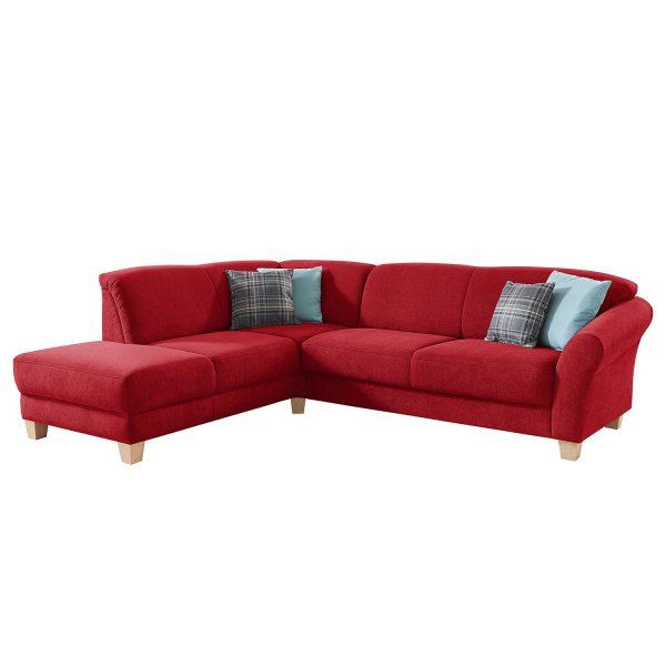 Ecksofa Cebu Webstoff - Ottomane davorstehend links - Sitzvorzug mit Sitztiefenverstellung - Rot