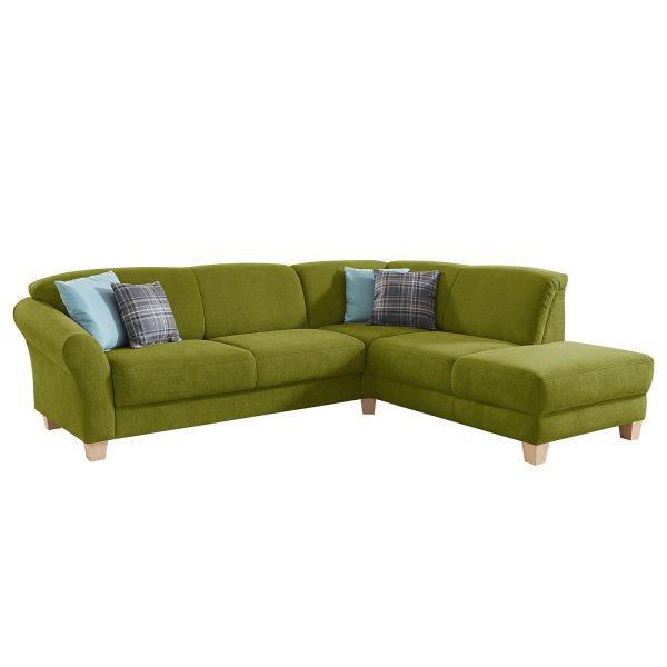 Ecksofa Cebu Webstoff - Ottomane davorstehend rechts - Sitzvorzug mit Sitztiefenverstellung - Grasgrün