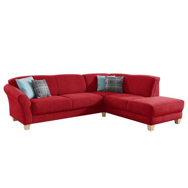 Ecksofa Cebu Webstoff - Ottomane davorstehend rechts - Sitzvorzug mit Sitztiefenverstellung - Rot