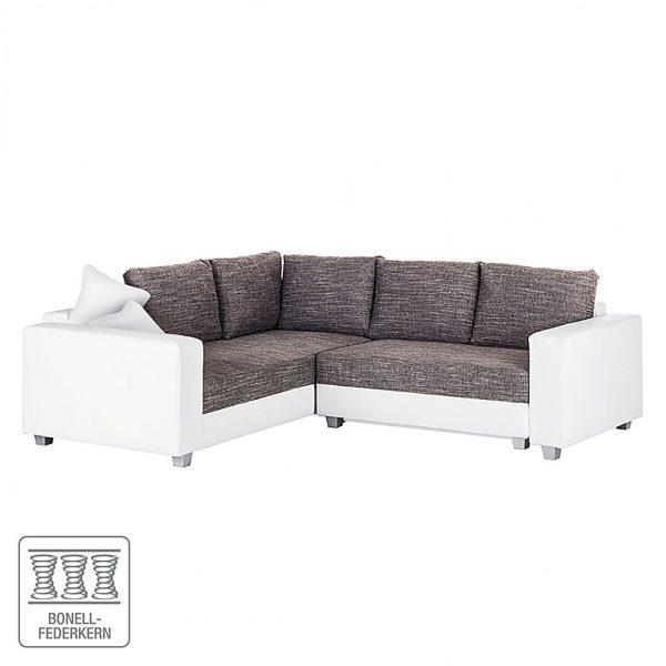 Ecksofa Dublin I (mit Schlaffunktion) Kunstleder/Strukturstoff - Weiß / Grau - 254 cm