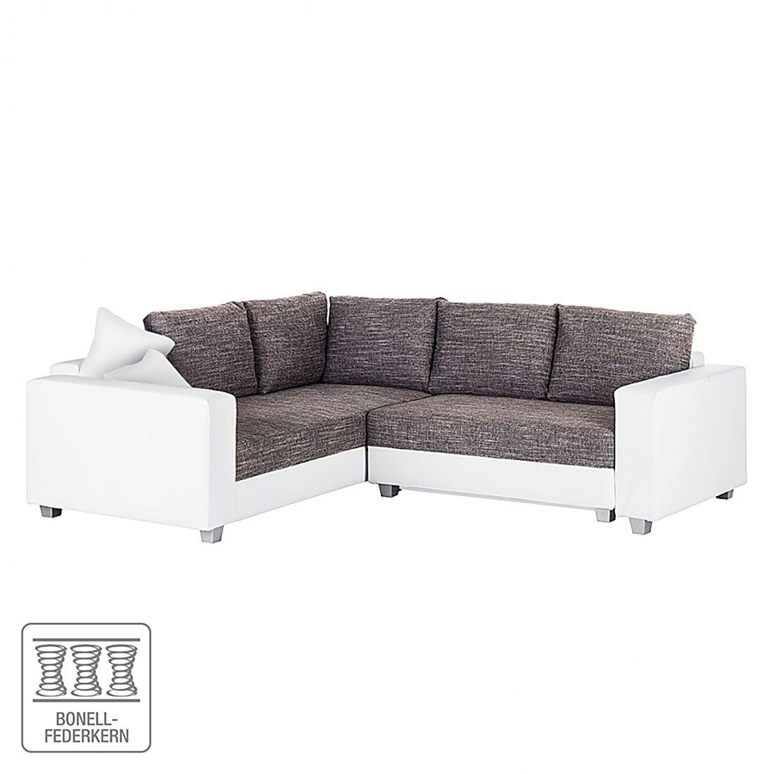 Astounding Ecksofa Weiß Grau Sammlung Von Dublin I (mit Schlaffunktion) Kunstleder/strukturstoff - Weiß